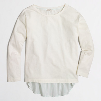 Petite long-sleeve mixed-media T-shirt