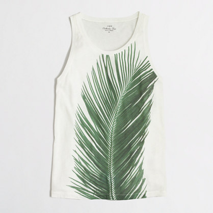 Photographic palm collector tank top in airy cotton