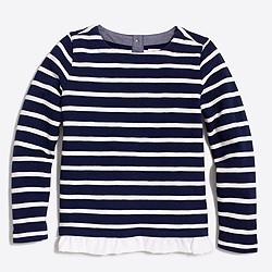 Girls' striped ruffle-hem sweatshirt