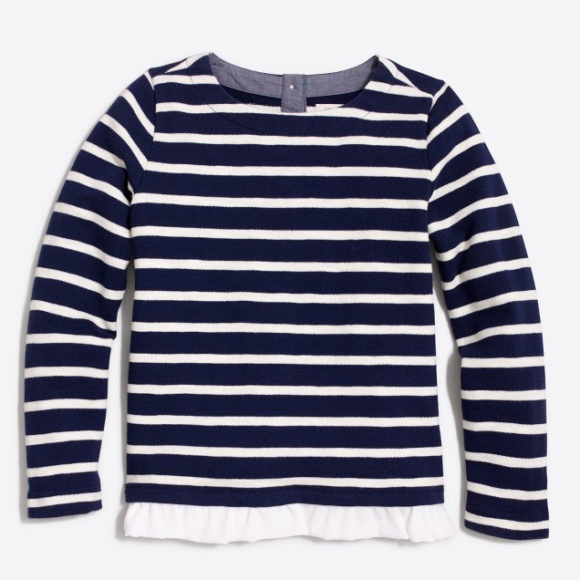Girls' striped ruffle-hem sweatshirt