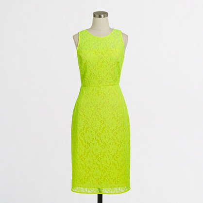Neon lace shift dress