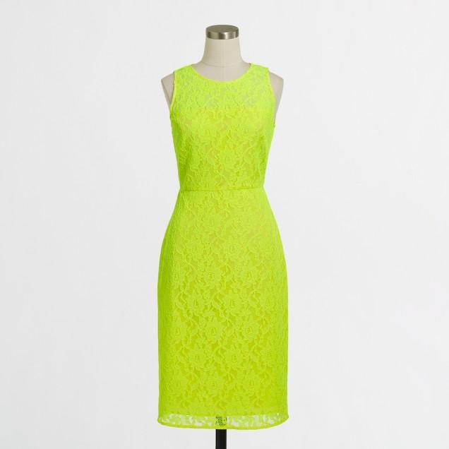 Neon lace shift dress
