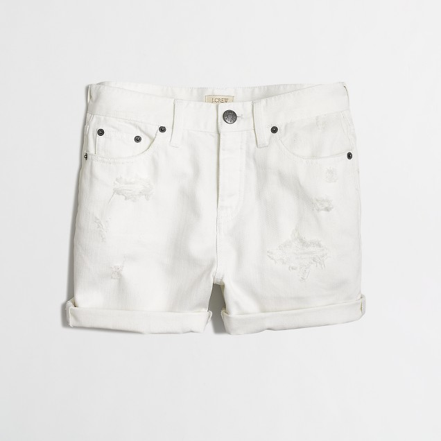 DISTRESSED White Denim Short