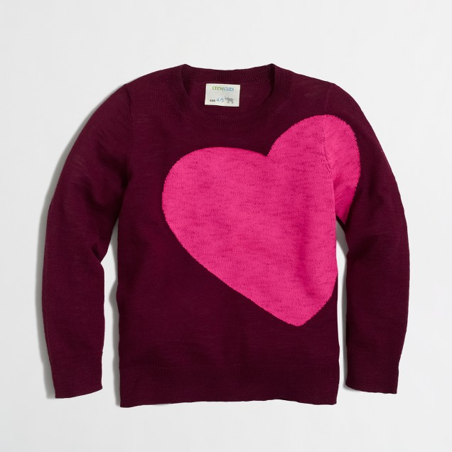 Girls' asymmetrical heart intarsia sweater