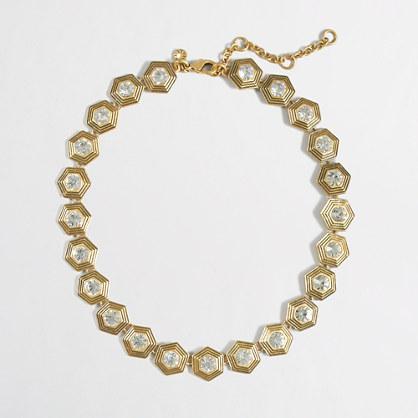 Golden geometric necklace
