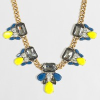Crystal and stone clusters necklace