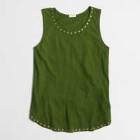 Embellished airy cotton tank top