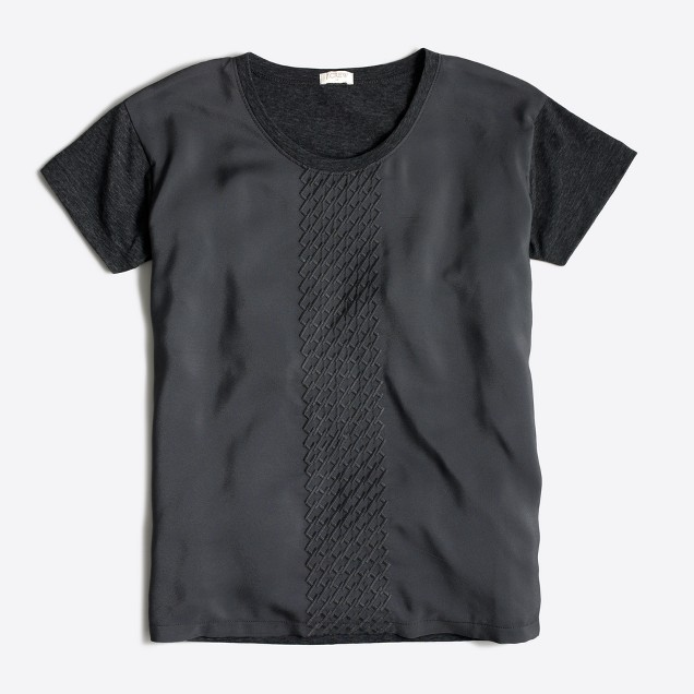 Petite embroidered silky-front T-shirt