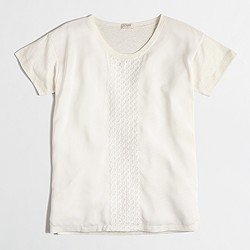 Factory embroidered silky-front T-shirt