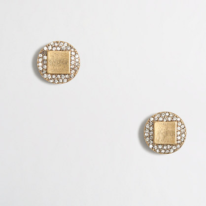 Circle and square stud earrings
