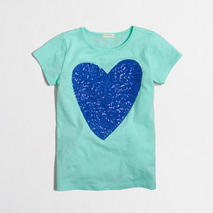 Girls' sequin heart keepsake T-shirt