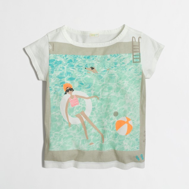 Girls' swimming pool keepsake T-shirt
