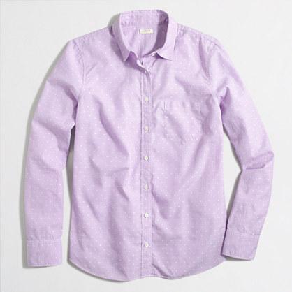 Cotton dobby shirt in dot