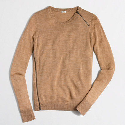 Merino asymmetrical-zip sweater