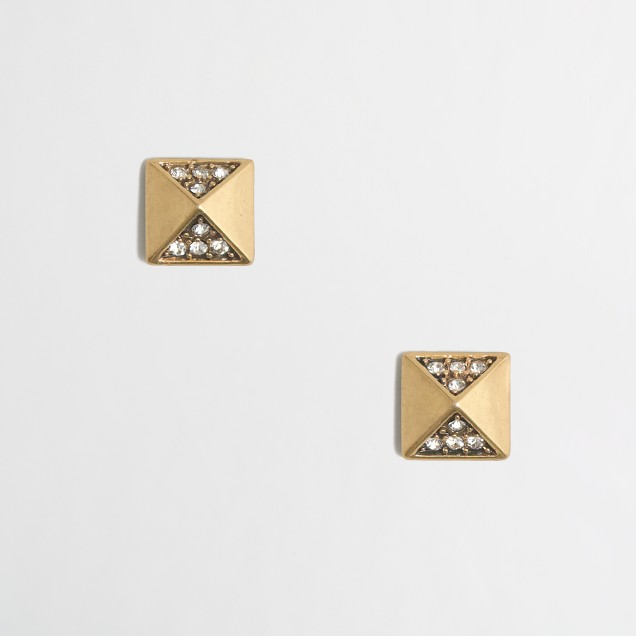 Golden diamond pyramid earrings