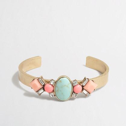 Golden gemstone cuff bracelet
