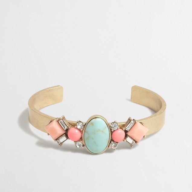 Golden gemstone cuff bracelet