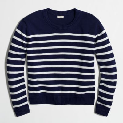 Cropped cotton sweater in stripe : FactoryWomen Pullovers | Factory
