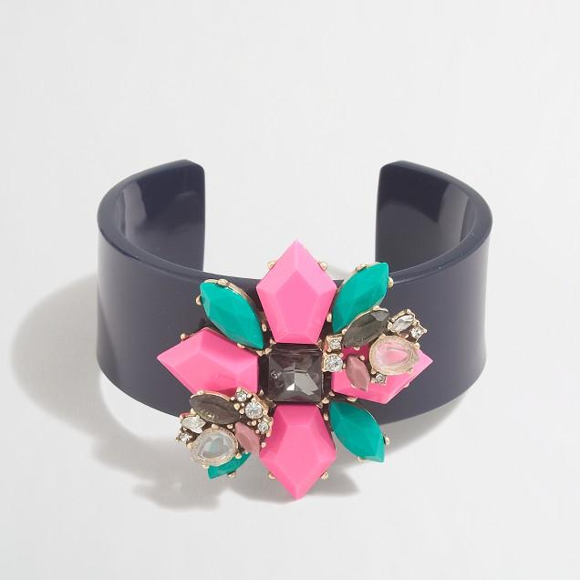 Floral gemstone cuff bracelet