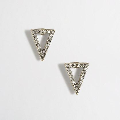Cutout crystal triangle earrings
