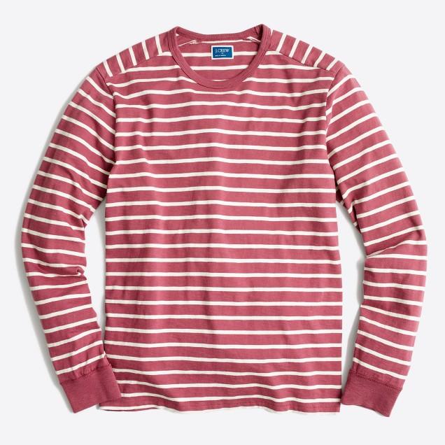 Long-sleeve deck-striped textured cotton T-shirt