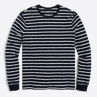 Long-sleeve deck-striped textured cotton T-shirt factorymen t-shirts & henleys c