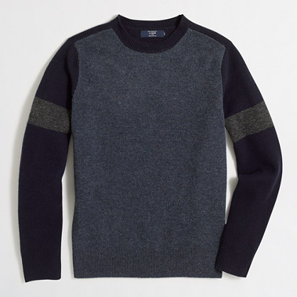 Lambswool varsity crewneck sweater