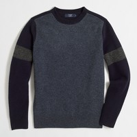 Lambswool varsity crewneck sweater