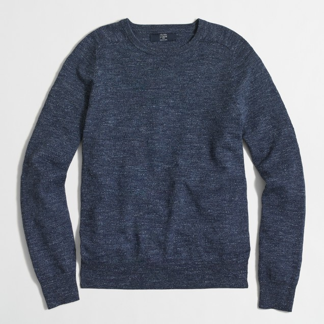 Tall textured cotton crewneck sweater