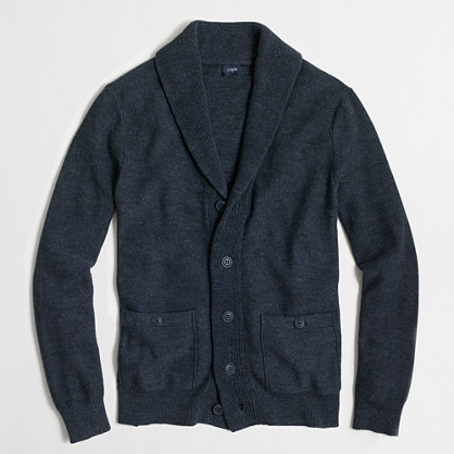 Heathered shawl-collar cardigan sweater