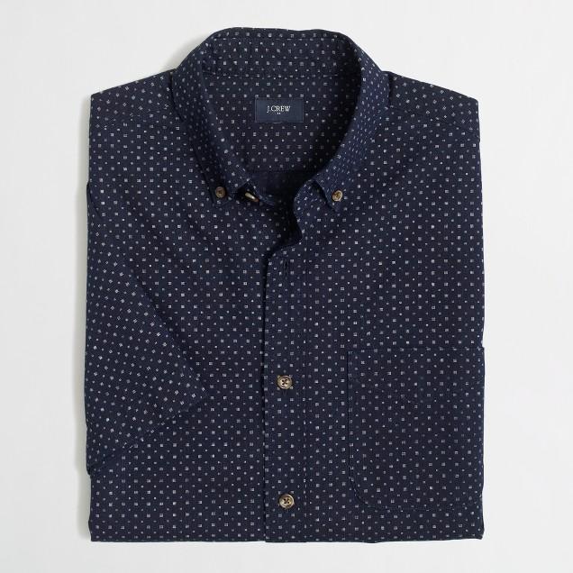 Short-sleeve indigo shirt in square dot