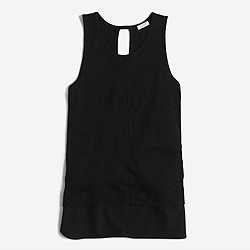 Factory drapey tank top with silky hem