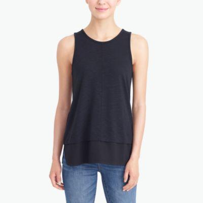 Petite drapey tank top with silky hem factorywomen petite c