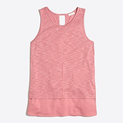 Drapey tank top with silky hem