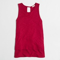 Petite drapey tank top with silky hem