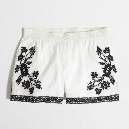 Embroidered cotton Gauze Short