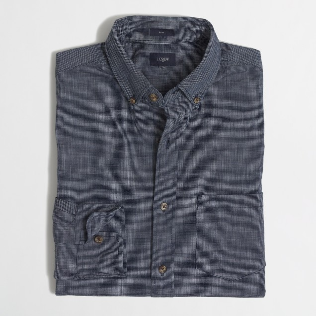 Slim textured chambray shirt