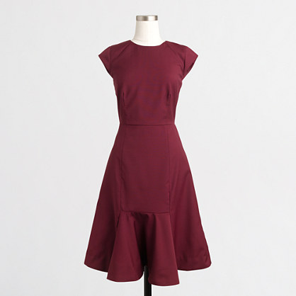 Ruffled-hem wool dress