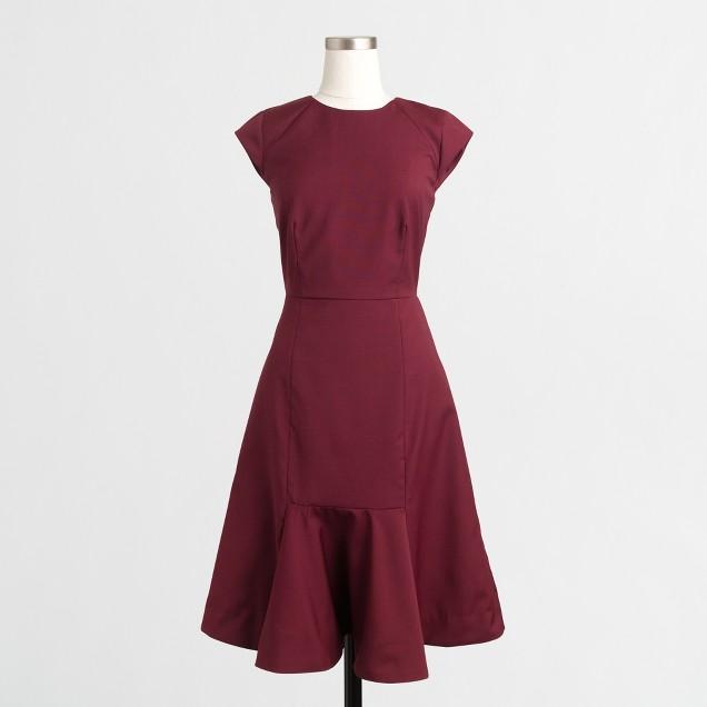 Ruffled-hem wool dress