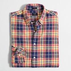 Factory slim plaid homespun shirt