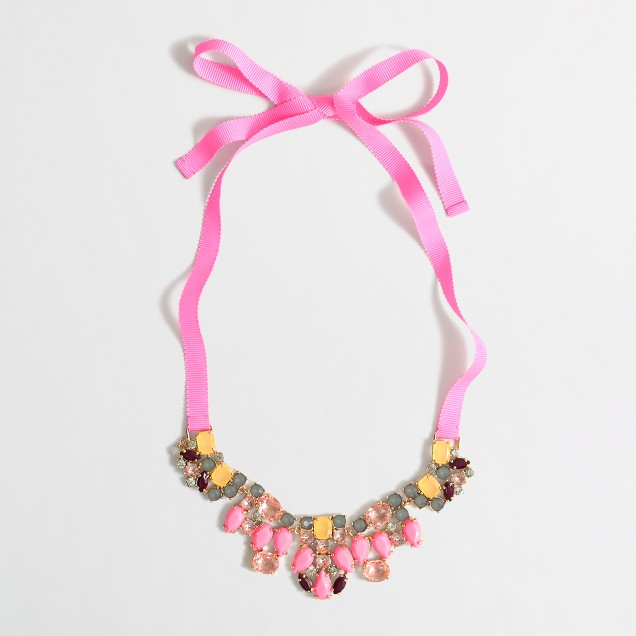 Girls' jeweled bow necklace