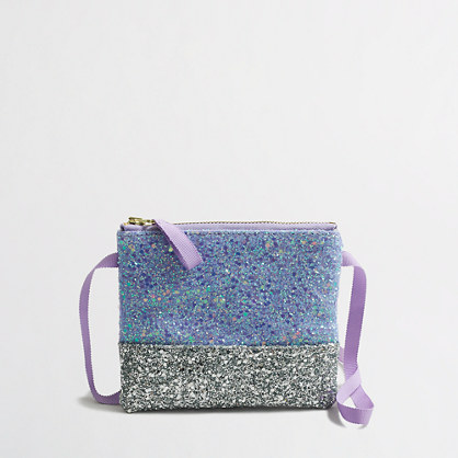 Girls' glitter colorblock purse
