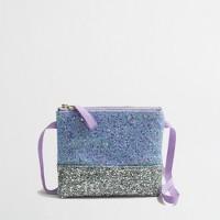Girls' glitter colorblock purse