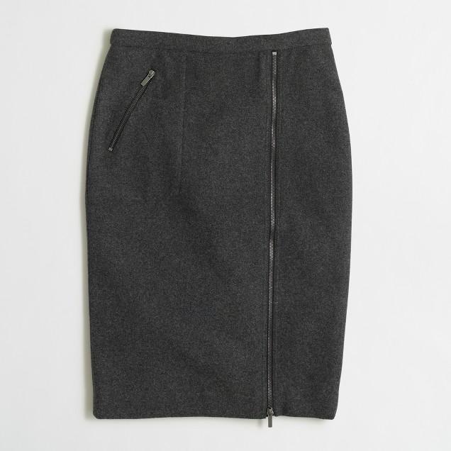 Petite asymmetrical zip pencil skirt in wool