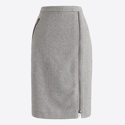 Asymmetrical zip pencil skirt in wool