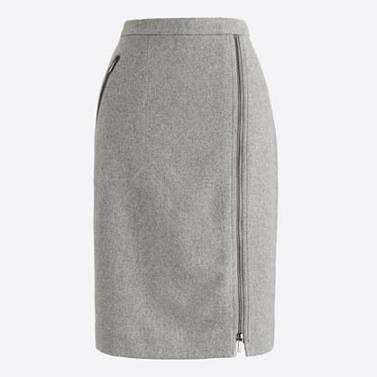 Asymmetrical zip pencil skirt in wool : pencil | J.Crew Factory