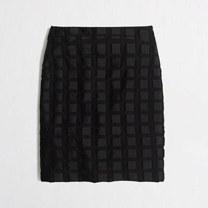 Pencil skirt in grid jacquard
