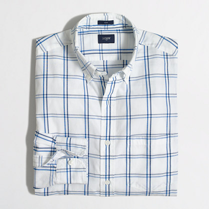 Slim washed shirt in open tattersall