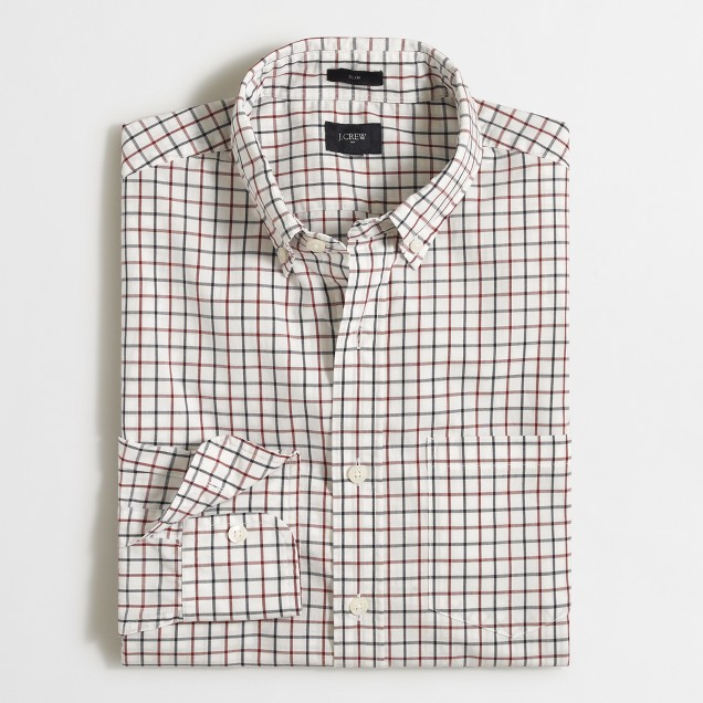 Slim washed shirt in two-tone tattersall