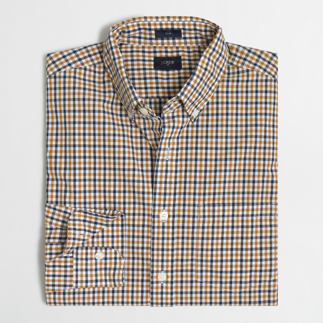 Slim washed shirt in multi-color open tattersall